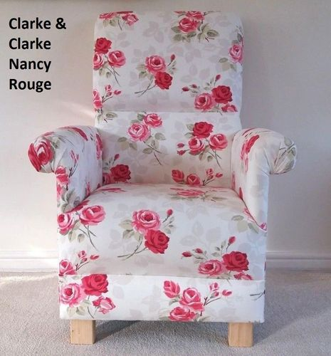 Accent Chair Roses Clarke Nancy Rouge Fabric Chair Red Floral Occasional Shabby Chic British Made