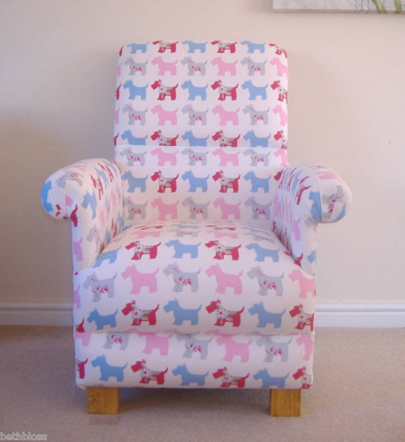 Clarke Scottie Dogs Fabric Adult Chair Pink Blue Armchair Puppies Nursery Bedroom Accent Terriers