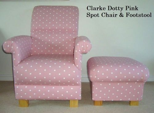 Clarke Pink Dotty Spot Fabric Adult Chair & Footstool Nursery Polka Dots Armchair White Spotty