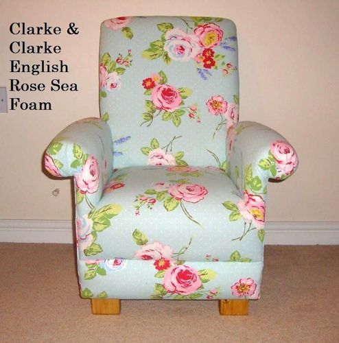 Clarke English Rose Sea Foam Fabric Child's Chair Kid's Nursery Mint Green Girl's Armchair Floral