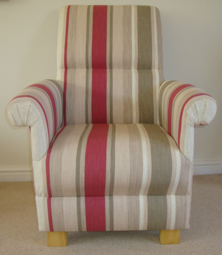 Laura Ashley Awning Stripe Raspberry Fabric Adult Chair Red Cream Beige Nursery Armchair Bedroom New