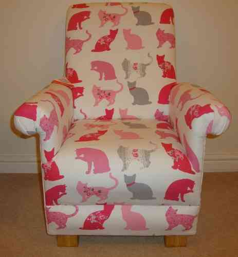 Clarke Felix Cat Fabric Child's Chair Pink Kid's Armchair Girls Kittens Cats Nursery