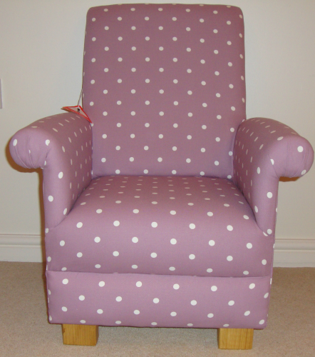 Clarke Lilac Dotty Spot Fabric Child's Chair Mauve Nursery Purple Polka Dot Armchair Bedroom Girl's