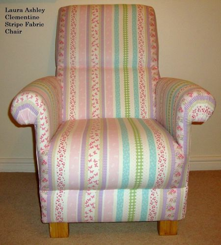 Laura Ashley Clementine Stripe Fabric Adult Chair Nursery Armchair Patchwork Bedroom Pink Lilac