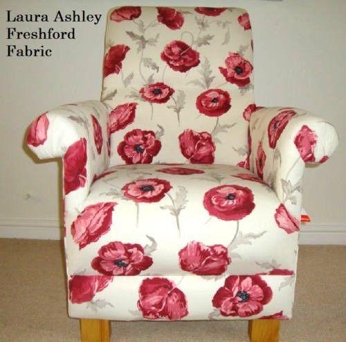 Laura Ashley Freshford Poppies Fabric Chair Red Armchair Poppy Flowers Nursery Lounge Kitchen