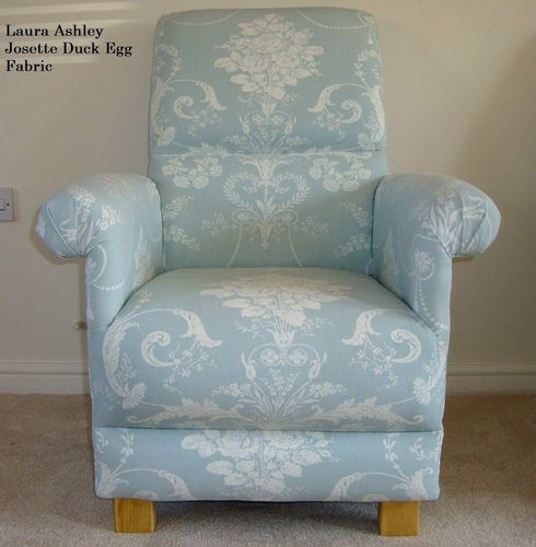 Laura Ashley Josette Fabric Adult Chair Duck Egg Armchair Nursery Lounge Kitchen Green Blue