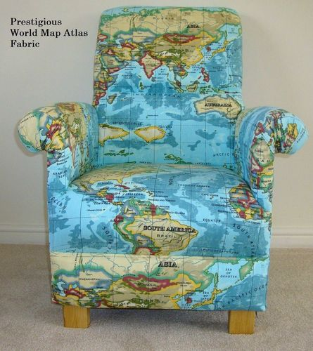 Prestigious Atlas Maps Fabric Adult Chair Armchair Azure Blue Nursery Geography World Map