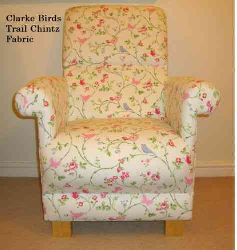 Clarke Birds Trail Chintz Fabric Adult Chair Armchair Cream Nursery Flowers Floral Pink Shabby Chic