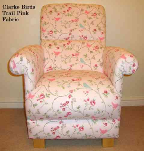Clarke Birds Trail Pink Fabric Adult Chair Armchair Nursery Floral Bedroom Kitchen Flowers Accent