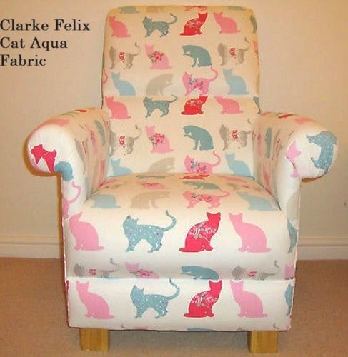 Clarke Felix Cat Fabric Adult Chair Aqua Blue Pink  Armchair Kittens Nursery Bedroom Accent Bespoke