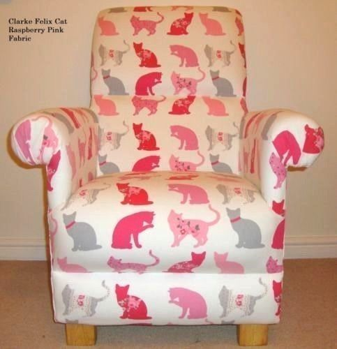 Clarke Felix Cat Pink Raspberry Fabric Adult Chair Kittens Armchair Nursery Grey Bedroom Feline
