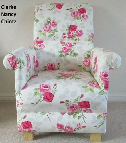 Clarke Nancy Chintz Fabric Adult Chair Flowers Pink White Armchair Shabby Chic Bedroom Accent Floral