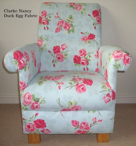 Clarke Nancy Duck Egg Fabric Adult Chair Armchair Green Pink Flowers Nursery Floral Shabby Chic Blue