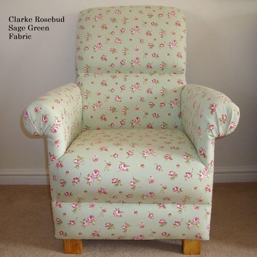 Clarke Rosebud Sage Green Fabric Adult Chair Roses Pink Armchair Floral Shabby Chic Bedroom