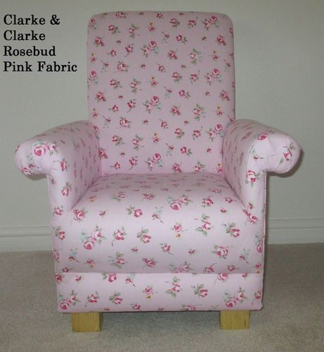 Clarke Rosebud Pink Fabric Adult Chair Armchair Nursery Roses Shabby Chic Bedroom Floral Flowers