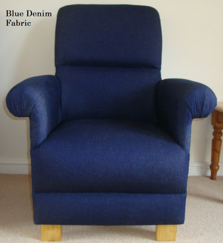 Denim Blue Fabric Adult Chair Armchair Navy Nursery Occasional Bespoke Dark Bedroom