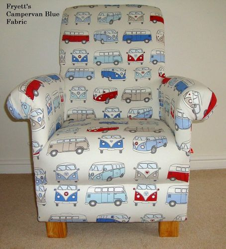 Fryetts Campervan Blue Fabric Adult Chair VW Armchair Nursery Volkswagen Retro Red Vans Cars Cream