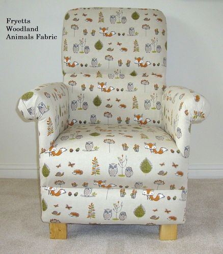 Fryetts Woodland Animals Fabric Adult Chair Armchair Nursery Beige Owl Fox Nursery Nursing Bedroom