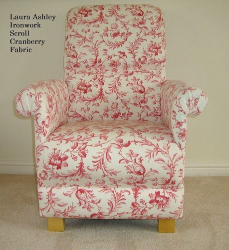 Laura Ashley Ironwork Scroll Fabric Adult Chair Cranberry Red Cream Nursery Bespoke Accent Bedroom