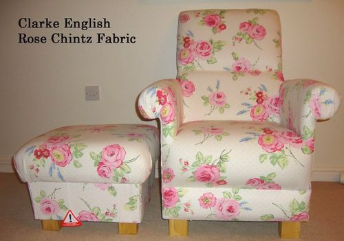 Clarke English Rose Chintz Fabric Adult Chair & Footstool Pink Roses Armchair Spotty Bedroom Accent