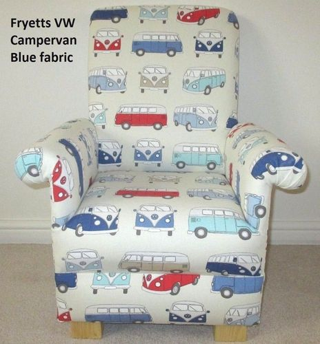 Fryetts Campervan VW Fabric Child's Chair Cars Retro Blue Red Kids Armchair