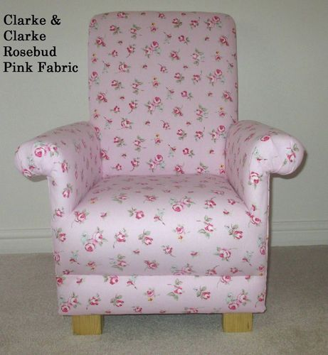 Clarke Rosebud Pink Fabric Child's Chair Kids Nursery Flowers Bedroom Armchair Floral Girl's