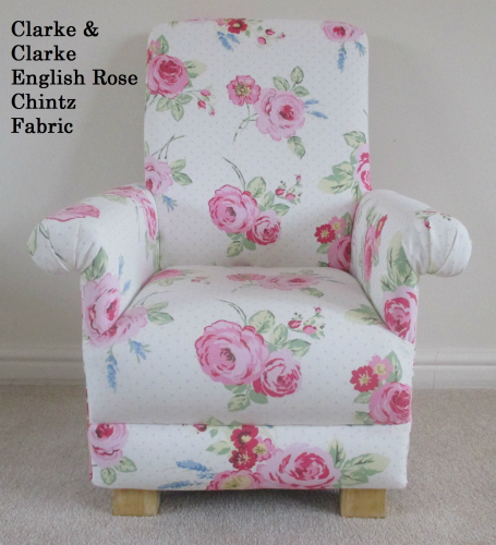Clarke English Rose Chintz Fabric Child's Chair Pink Kids Nursery Bedroom Armchair Floral Roses