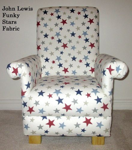 John Lewis Funky Stars Blue Fabric Child's Chair Red White Armchair Star Kid's Nursery Bedroom