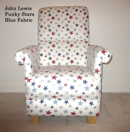 John Lewis Funky Stars Blue Fabric Adult Chair Nursery Bedroom Armchair Accent Red White