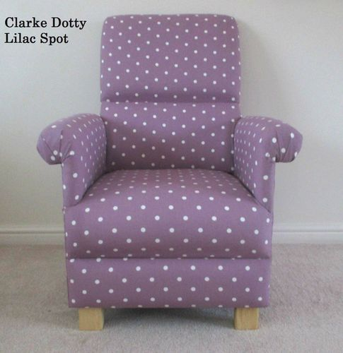 Clarke Lilac Dotty Spot Fabric Adult Chair Polka Dot Nursery Bedroom Mauve Polka Dots Spotty