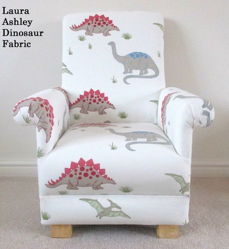 Laura Ashley Dinosaur Fabric Child's Chair Kids Nursery Bedroom T-Rex Dinosaurs Armchair Red Blue