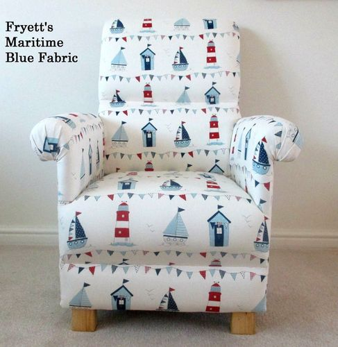 Fryetts Maritime Blue Nautical Fabric Adult Chair Nursery Ships Boats Seaside Bedroom