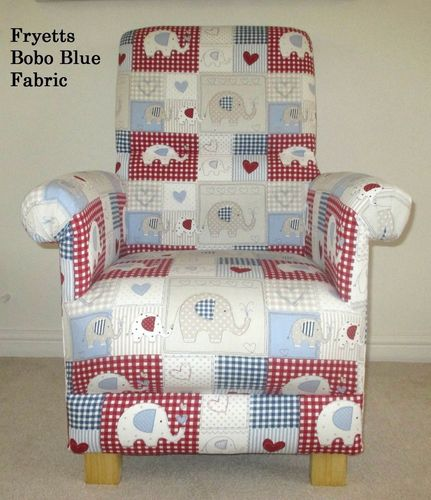 Fryetts Bobo Blue Fabric Adult Chair Nursery Red White Gingham Patchwork Armchair Elephants