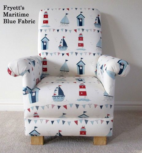 Fryetts Maritime Blue Child's Chair Nautical Nursery Boats Ships Kids Bedroom Armchair Yachts