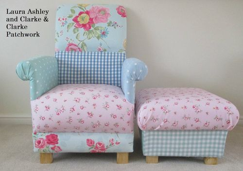 Laura Ashley Patchwork Fabric Adult Chair & Footstool Pink Nursery Blue Shabby Chic Armchair