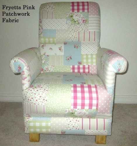 Fryetts Pink Patchwork Fabric Adult Chair Nursery Spot Gingham Shabby Chic Green Floral Armchair