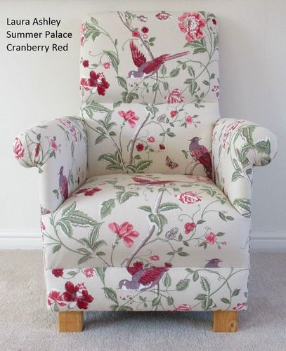 Laura Ashley Summer Palace Cranberry Fabric Adult Chair Red Birds Floral Armchair Beige Bespoke