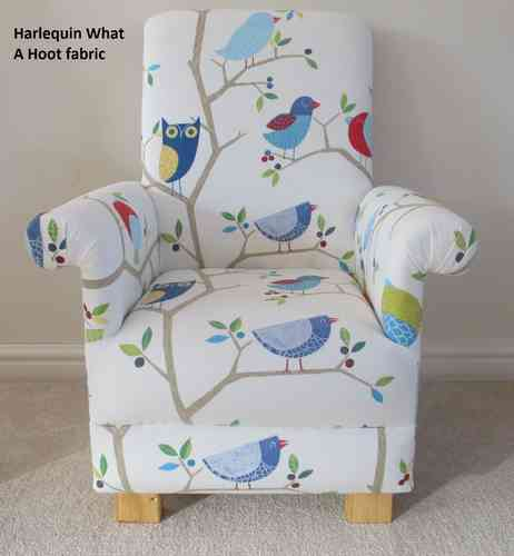 Harlequin What A Hoot Blue Fabric Child Chair Ocean Apple Aqua Kids Nursery Armchair Owl