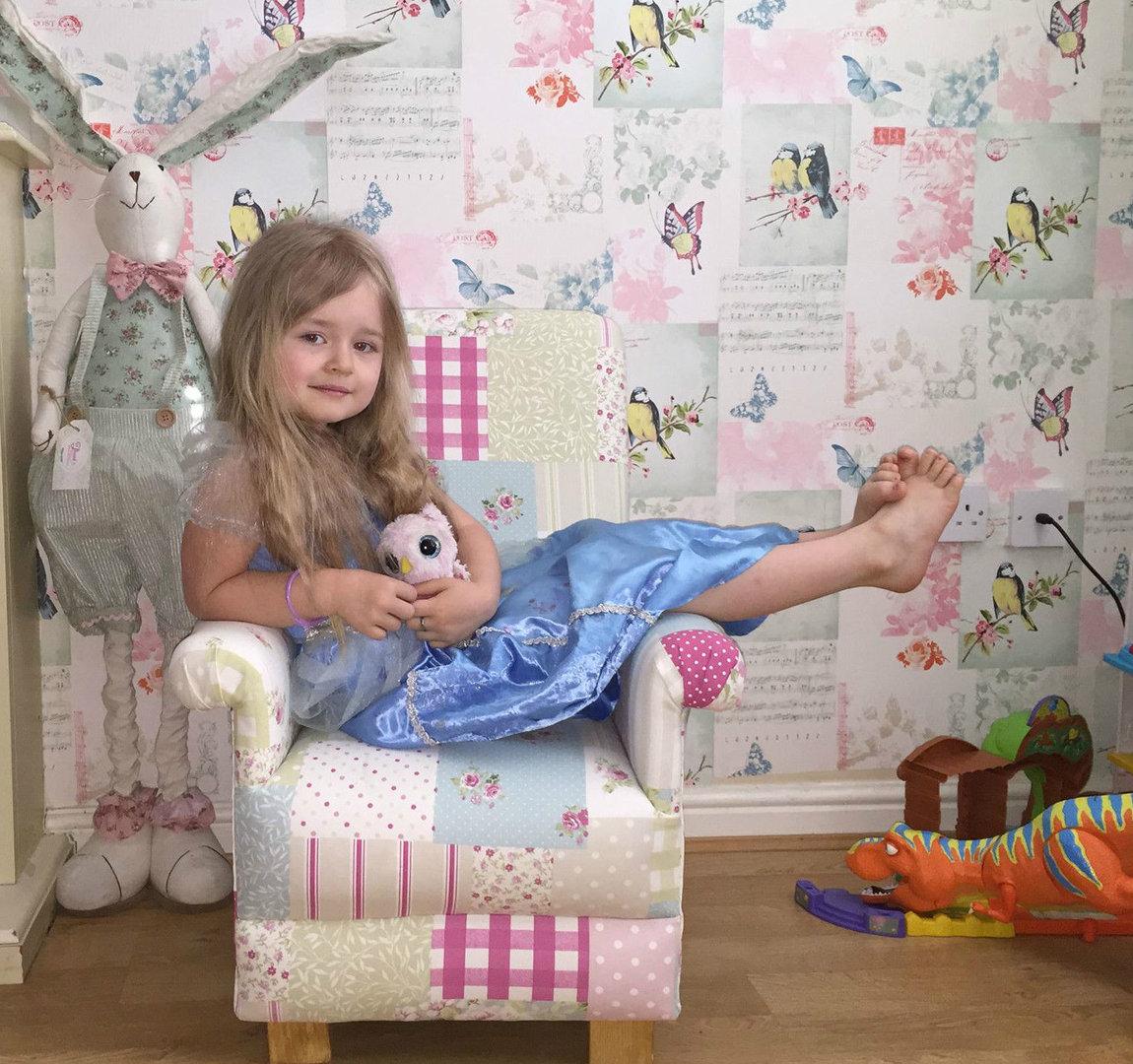 Kids Armchair Child/'s Chair Dotty Spot Taupe Fabric Beige Spotty Children/'s Dots