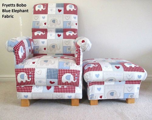 Fryetts Bobo Blue Patchwork Fabric Chair & Footstool Nursery Elephant Gingham Red Armchair