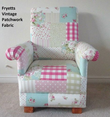 Fryetts Vintage Patchwork Fabric Child's Chair Kids Gingham Pink Spotty Nursery Armchair Girl's