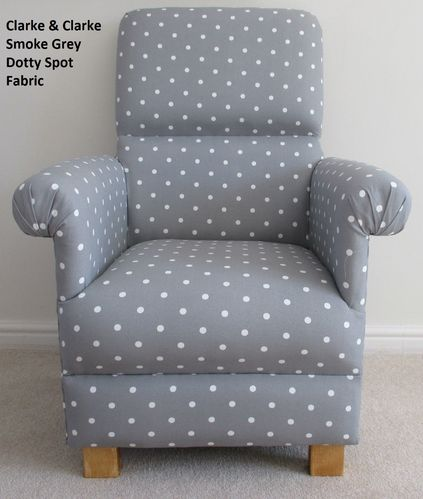 Clarke Dotty Spot Smoke Grey Fabric Adult Chair Nursery Polka Dot Armchair Spotty Spots