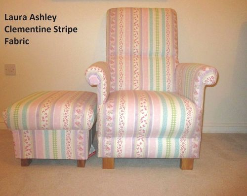 Laura Ashley Clementine Stripe Fabric Chair & Footstool Pink Nursery Lilac Armchair Patchwork Blue