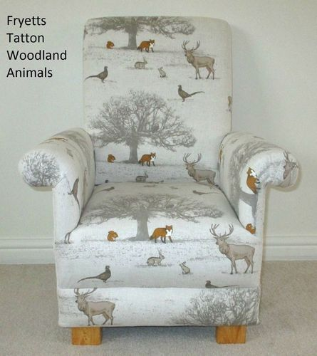 Fryetts Tatton Woodland Animals Child Chair Kids Nursery Foxes Deer Beige Bespoke Armchair
