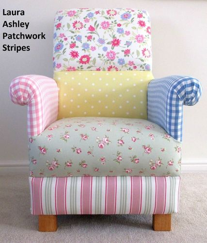 Laura Ashley Patchwork Fabric Adult Chair Stripes Spots Gingham Pink Lemon Floral Armchair Nursery