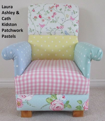 Laura Ashley Patchwork Fabric Child's Chair Pink Fairy Spotty Nursery Bedroom Kid's Armchair Floral
