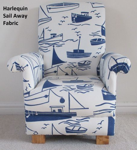 Harlequin Sail Away Fabric Child's Chair Blue White Ships Boats Nautical Seaside Nursery Armchair