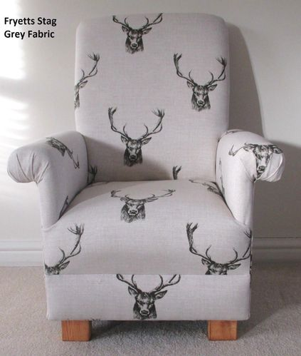 Fryetts Stag Fabric Child Chair Kids Armchair Charcoal Grey Nursery Bedroom Reading Bespoke Designer