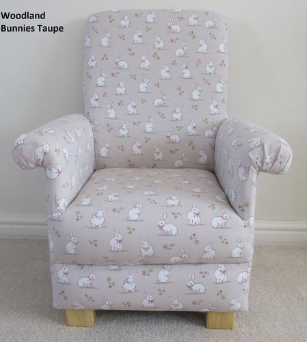 Woodland Bunnies Child's Chair Easter Rabbit Taupe Beige Designer Reading Armchair