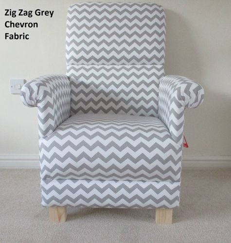 Grey Zig Zag Chevron Fabric Adult Chair Nursery White Bespoke Armchair Bedroom Accent Kitchen Lounge